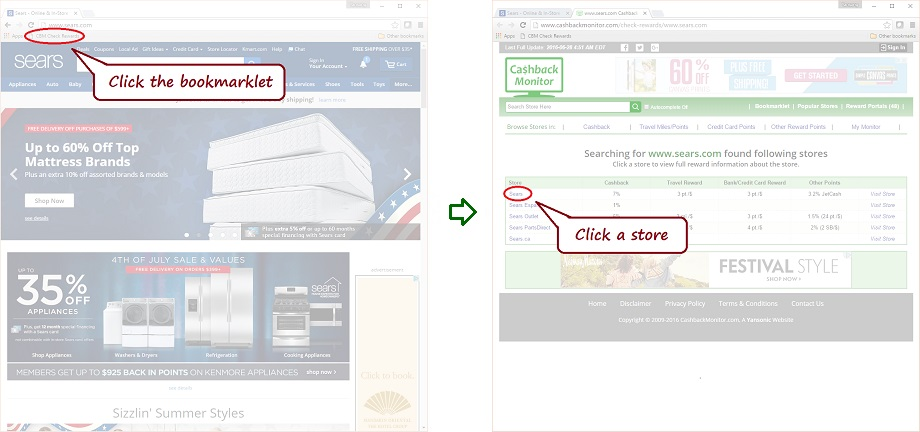 Sears Bookmarklet Example