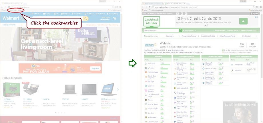 Walmart Bookmarklet Example